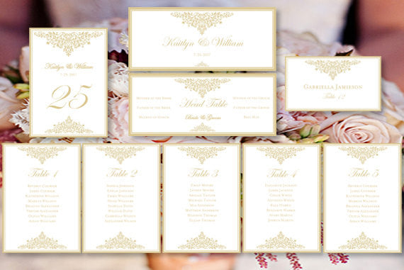 Wedding Seating Chart Set Anna Maria Champagne