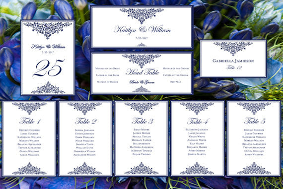 Wedding Seating Chart Set Anna Maria Navy