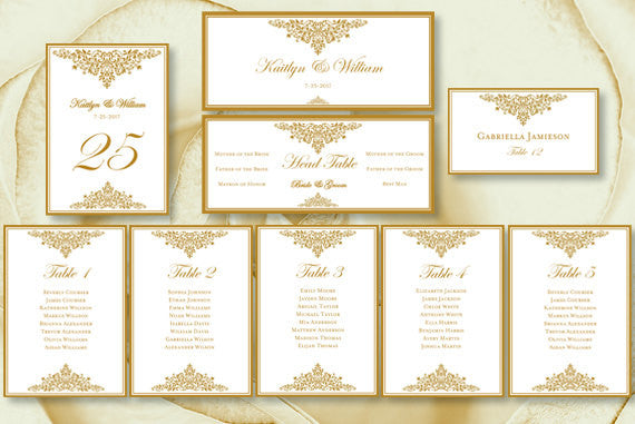 Wedding Seating Chart Set Anna Maria Gold