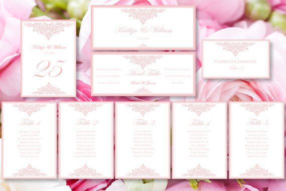 Wedding Seating Chart Set Anna Maria Blush Pink