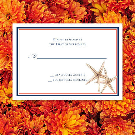 Wedding Response Cards Beach Starfish Navy Blue Coral
