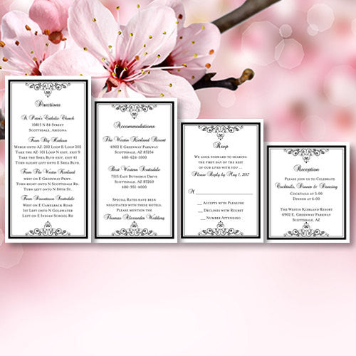 Pocket Fold Wedding Invitations Vintage Black 5x7