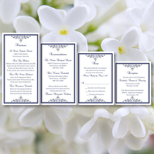 Pocket Fold Wedding Invitations Vintage Navy Blue 5x7