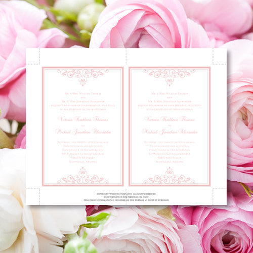 Pocket Fold Wedding Invitations Vintage Blush Pink 5x7