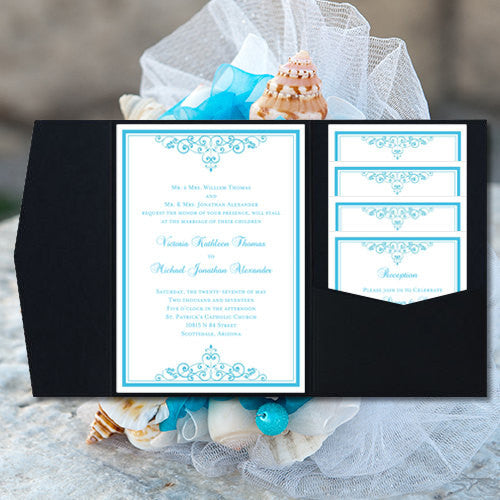 Pocket Fold Wedding Invitations Vintage Malibu Blue 5x7