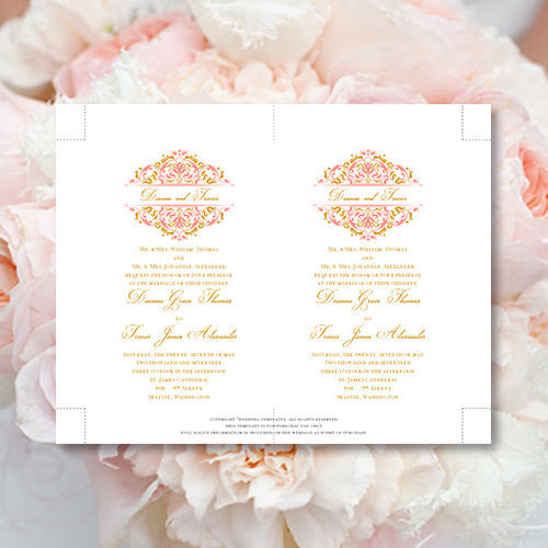Pocket Fold Wedding Invitations Grace Coral Gold 5x7