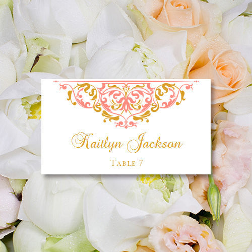 Wedding Seating Card Grace Coral Gold Tent