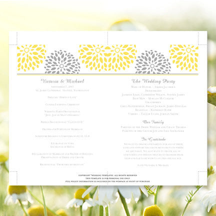 Wedding Program Fan Floral Petals Sunshine Yellow Gray