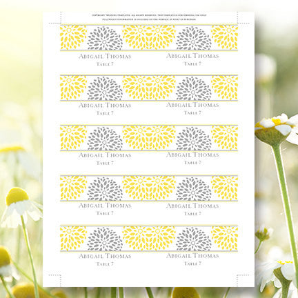 Printable Wedding Place Cards Petals Yellow Gray Flat