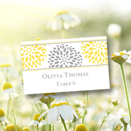 Wedding Seating Card Floral Petals Yellow Gray Tent