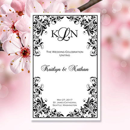 Wedding Program Template Kaitlyn Black White