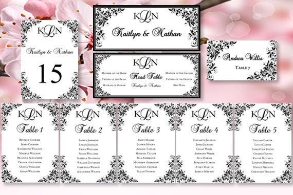 Wedding Seating Chart Set Kaitlyn Black White