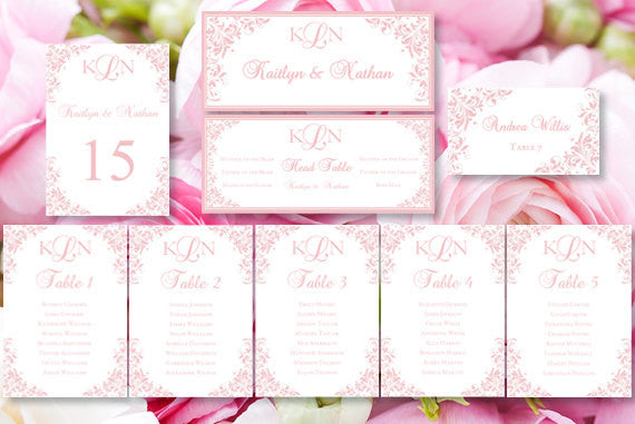 Wedding Seating Chart Set Kaitlyn Blush Pink