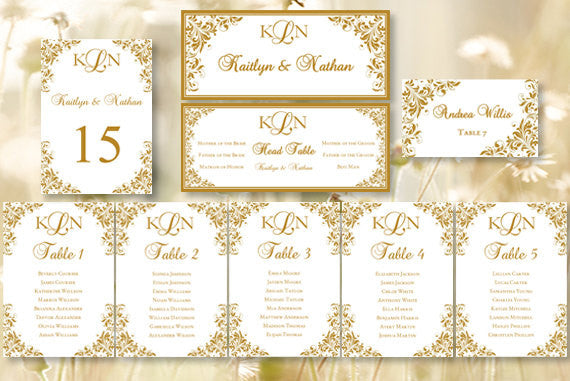 Wedding Seating Chart Set Kaitlyn Gold