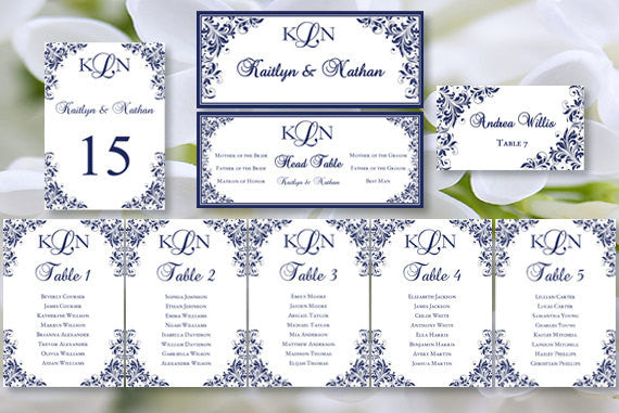 Wedding Seating Chart Set Kaitlyn Navy Blue