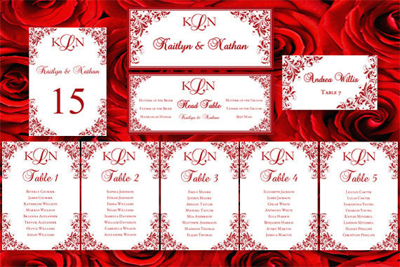 Wedding Seating Chart Set Kaitlyn Red