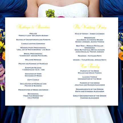 Wedding Program Template Kaitlyn Navy Blue Yellow