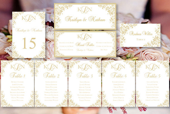 Wedding Seating Chart Set Kaitlyn Champagne