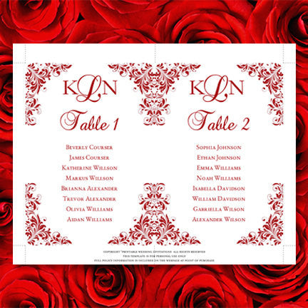 wedding seating chart set kaitlyn red wedding template shop