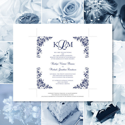 Pocket Fold Wedding Invitations Kaitlyn Navy Blue 5.75 x 5.75