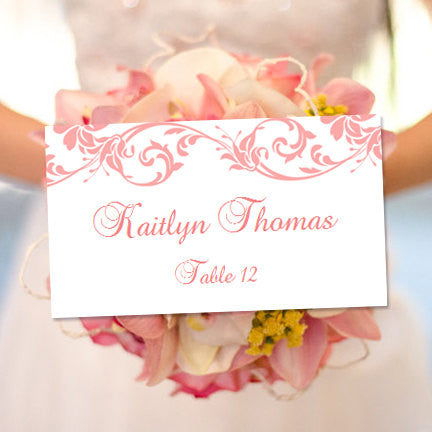 Wedding Seating Card Damask Coral Reef Tent