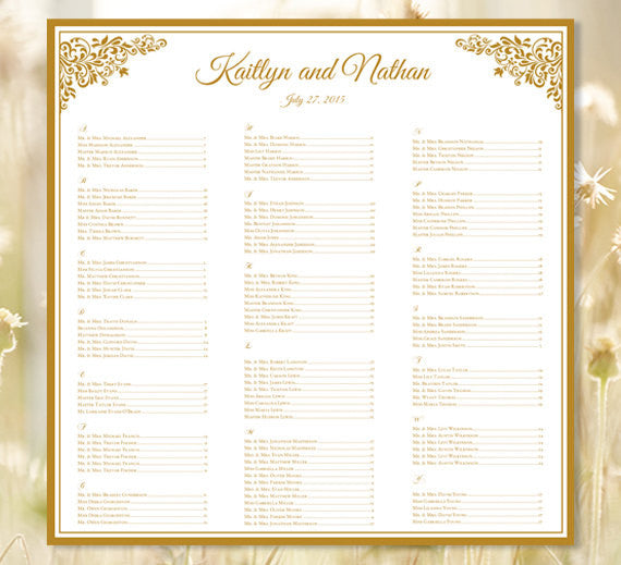 Wedding Seating Plan Anna Maria Gold