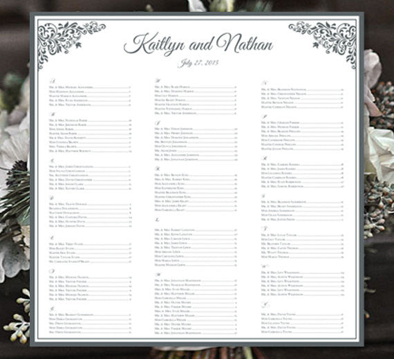 Wedding Seating Plan Anna Maria Silver Gray