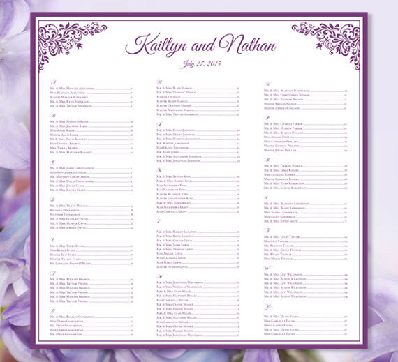 Wedding Seating Plan Anna Maria Purple