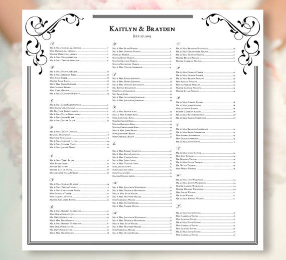 Wedding Seating Plan Elegance Black White