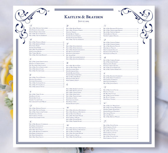 Wedding Seating Plan Elegance Navy Blue