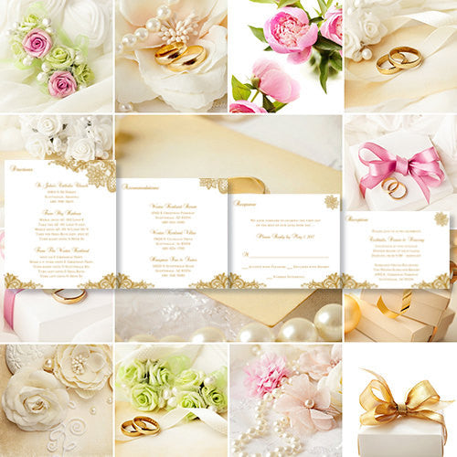 Pocket Fold Wedding Invitations Vintage Lace Gold 5.75x5.75
