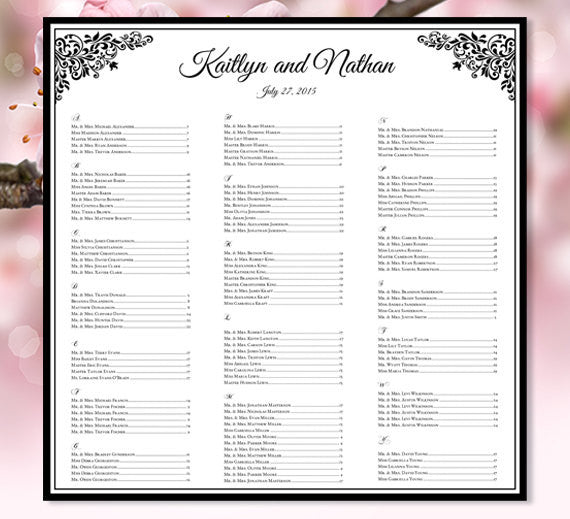 Wedding Seating Plan Anna Maria Black White