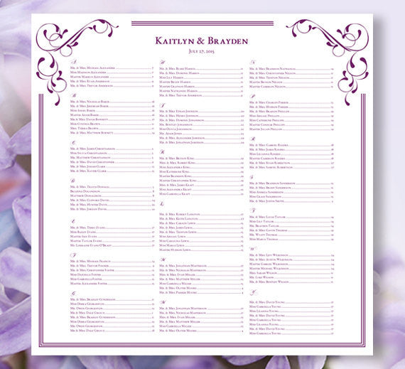 Wedding Seating Plan Elegance Purple
