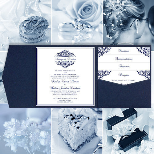 Pocket Fold Wedding Invitations Grace Navy Blue 5.75x5.75