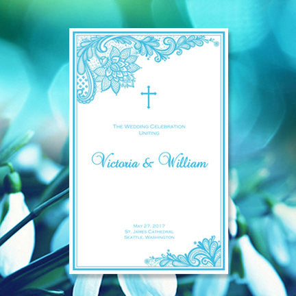 Catholic Church Wedding Program Vintage Lace Malibu Blue