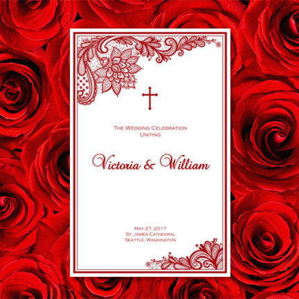 Catholic Church Wedding Program Vintage Lace Red