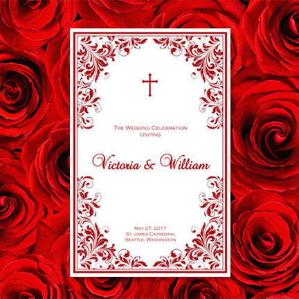 Catholic Church Wedding Program Kaitlyn Red