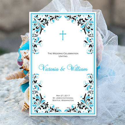 Catholic Church Wedding Program Kaitlyn Malibu Blue Black