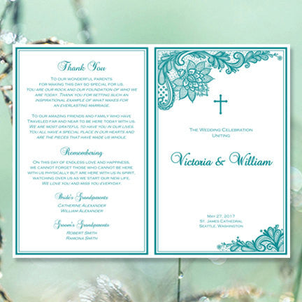 Catholic Church Wedding Program Vintage Lace Teal