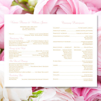 Catholic Church Wedding Program Kaitlyn Blush Pink