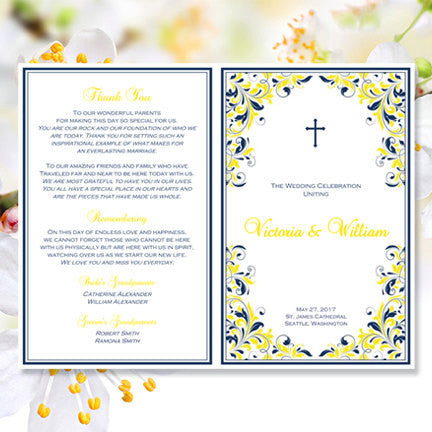 Catholic Church Wedding Program Kaitlyn Navy Blue Yellow