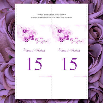 wedding table number template orchid purple flat wedding template shop