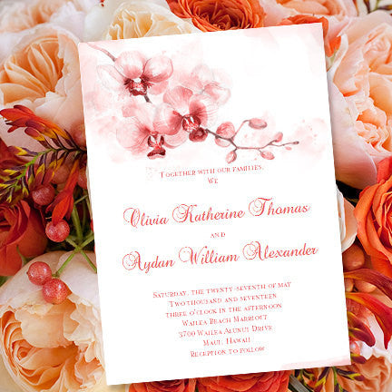 Tropical Orchid Wedding Invitation Coral Orange