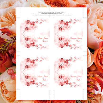 Wedding Seating Card Orchid Coral Orange Tones Tent