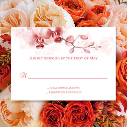 Wedding Response Cards Orchid Coral Orange