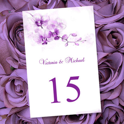 Wedding Table Number Template Orchid Purple Flat