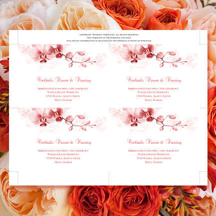 Wedding Reception Invitations Orchid Coral Orange