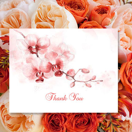 Wedding Thank You Card Orchid Coral Orange