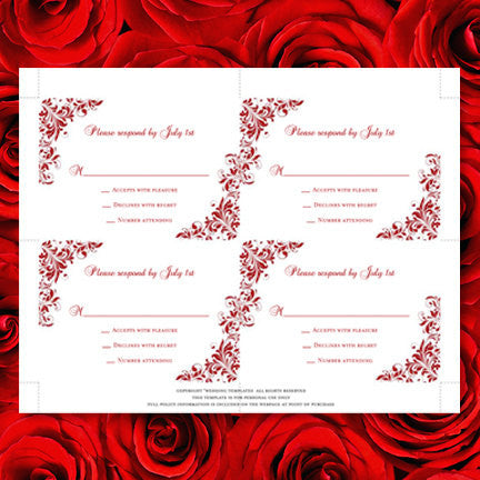Wedding Response Cards Kaitlyn Red