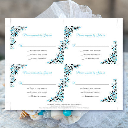 Wedding Response Cards Kaitlyn Malibu Blue Black